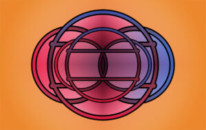 Design process represented by an abstract image of circles in pink and purple intersecting on an orange background