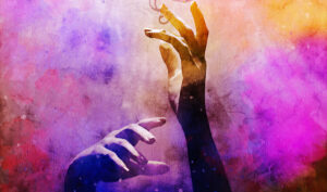learn graphic design online. two hands reaching upward in a watercolor looking rainbow of yellow, hot pink, and electric blue. A digital painting.